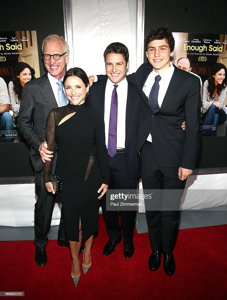 Brad Hall, Julia Louis-Dreyfus, Henry Hall and Charles Hall attend the 'Enough Said' New York Screening at Paris Theater on September 16, 2013 in New York City.
