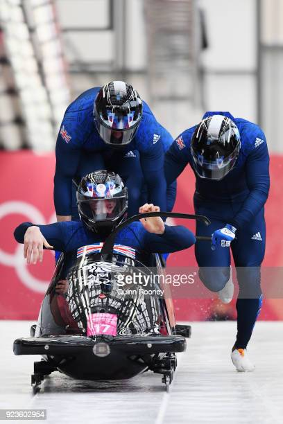 Brad Hall Nick Gleeson Joel Fearon and Greg Cackett of Great Britain compete during 4man Bobsleigh Heats on day fifteen of the PyeongChang 2018...