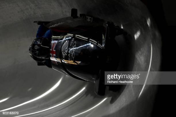 Brad Hall of Great Britain pilots his sled during 4man Bobsleigh training on day 13 of the Pyeongchang 2018 Winter Olympics on February 22 2018 in...