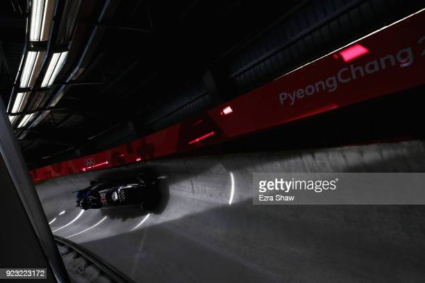 Brad Hall of Great Britain pilots his sled during 4man Bobsleigh training on day 14 of the Pyeongchang 2018 Winter Olympics on February 23 2018 in...