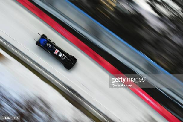 Brad Hall of Great Britain slides during the Men's Bobsleigh training at Olympic Sliding Centre on February 16 2018 in Pyeongchanggun South Korea