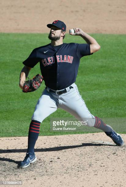 Brad Hand of the Cleveland Indians pitches against the Detroit Tigers during the ninth inning at Comerica Park on September 20 in Detroit Michigan