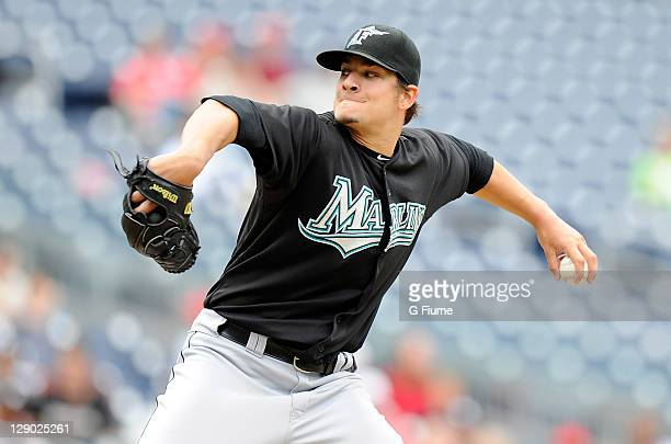 Brad Hand of the Florida Marlins pitches against the Washington Nationals at Nationals Park on September 18 2011 in Washington DC