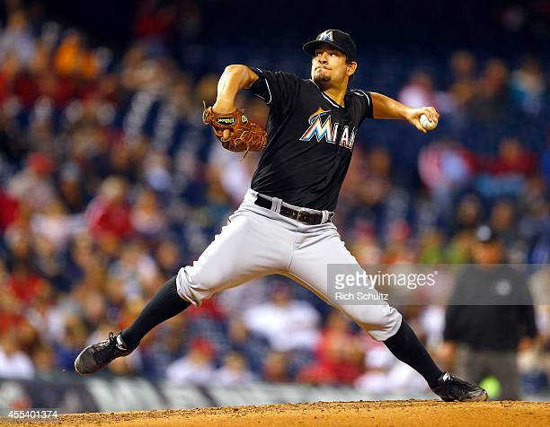 Brad Hand of the Miami Marlins delivers a pitch against the Philadelphia Phillies during the fourth inning of a game at Citizens Bank Park on...