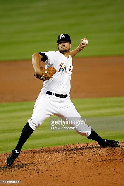 Brad Hand of the Miami Marlins delivers a pitch in the second inning against the Philadelphia Phillies at Marlins Park on July 3 2014 in Miami Florida