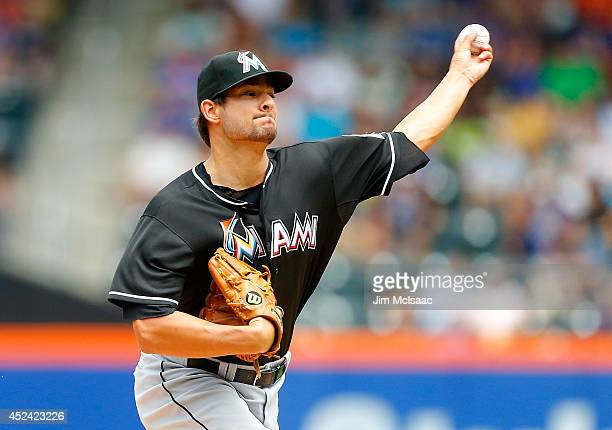 Brad Hand of the Miami Marlins in action against the New York Mets at Citi Field on July 13 2014 in the Flushing neighborhood of the Queens borough...