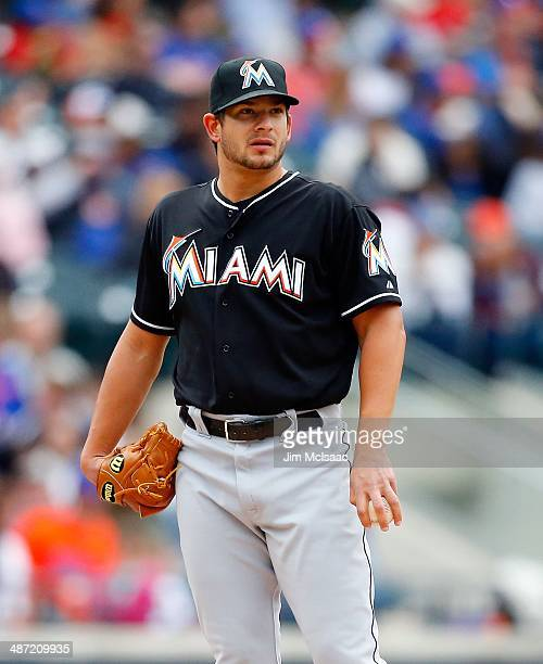 Brad Hand of the Miami Marlins in action against the New York Mets at Citi Field on April 27 2014 in the Flushing neighborhood of the Queens borough...