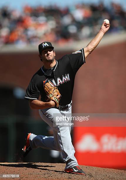 Brad Hand of the Miami Marlins pitches against the San Francisco Giants during the game at ATT Park on Sunday May 18 2014 in San Francisco California
