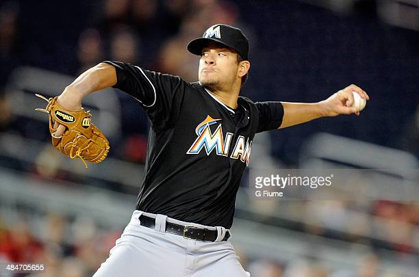 Brad Hand of the Miami Marlins pitches against the Washington Nationals at Nationals Park on April 9 2014 in Washington DC