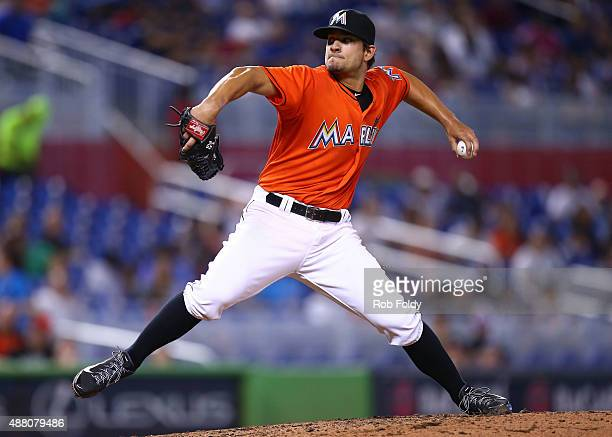 Brad Hand of the Miami Marlins pitches during the game against the Washington Nationals at Marlins Park on September 13 2015 in Miami Florida