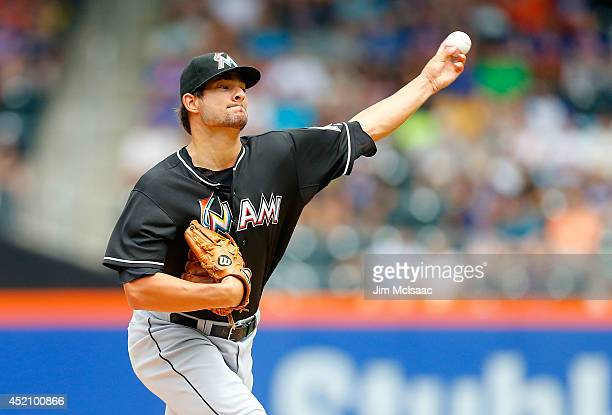 Brad Hand of the Miami Marlins pitches in the first inning against the New York Mets at Citi Field on July 13 2014 in the Flushing neighborhood of...