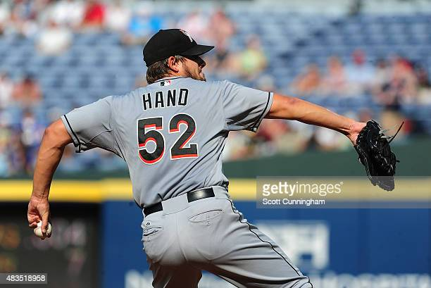 Brad Hand of the Miami Marlins throws a third inning pitch against the Atlanta Braves at Turner Field on August 9 2015 in Atlanta Georgia