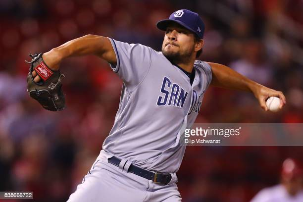 Brad Hand of the San Diego Padres delivers a pitch against the St Louis Cardinals in the ninth inning at Busch Stadium on August 24 2017 in St Louis...