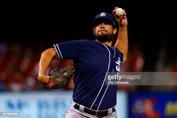 Brad Hand of the San Diego Padres delivers a pitch against the St Louis Cardinals in the ninth inning at Busch Stadium on June 12 2018 in St Louis...