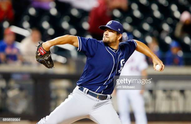 Brad Hand of the San Diego Padres in action against the New York Mets at Citi Field on May 24 2017 in the Flushing neighborhood of the Queens borough...