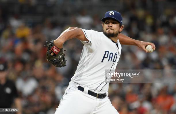 Brad Hand of the San Diego Padres pitches during a baseball game against the San Francisco Giants at PETCO Park on July 15 2017 in San Diego...