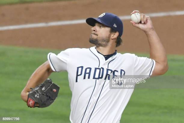 Brad Hand of the San Diego Padres pitches during a baseball game against the Washington Nationals at Petco Park on August 19 2017 in San Diego...