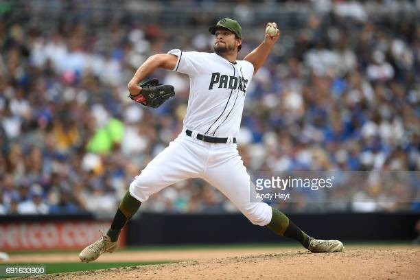Brad Hand of the San Diego Padres pitches during the game against the Chicago Cubs at Petco Park on May 29 2017 in San Diego California