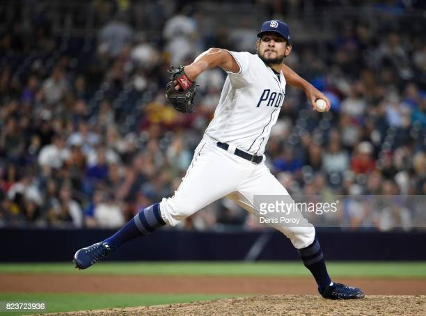 Brad Hand of the San Diego Padres pitches during the ninth inning of a baseball game against the New York Mets at PETCO Park on July 27 2017 in San...