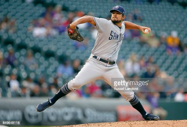 Brad Hand of the San Diego Padres pitches during the ninth inning of a regular season MLB game between the Colorado Rockies and the visiting San...