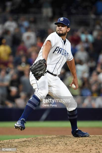Brad Hand of the San Diego Padres plays during a baseball game against the New York Mets at PETCO Park on July 27 2017 in San Diego California