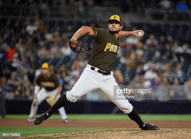 Brad Hand of the San Diego Padres plays during a baseball game against the Pittsburgh Pirates at PETCO Park on July 28 2017 in San Diego California