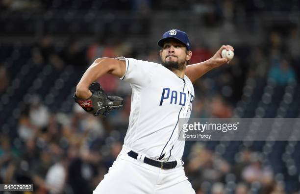 Brad Hand of the San Diego Padres plays during a baseball game against the San Francisco Giants at PETCO Park on August 30 2017 in San Diego...