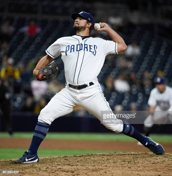 Brad Hand of the San Diego Padres plays during a baseball game against the Arizona Diamondbacks at PETCO Park on September 18 2017 in San Diego...
