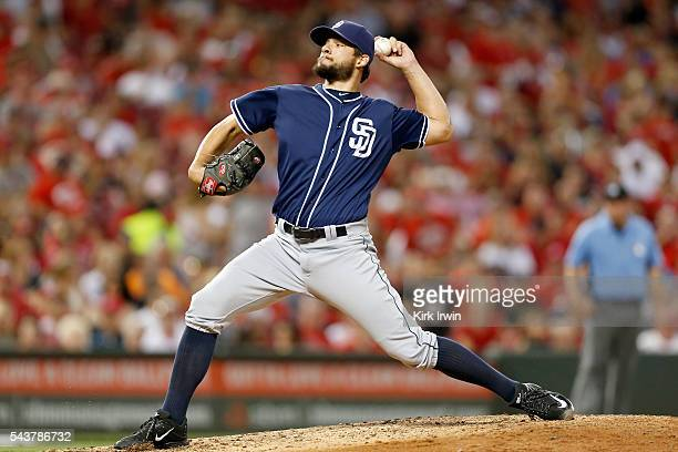 Brad Hand of the San Diego Padres throws a pitch during the game against the Cincinnati Reds at Great American Ball Park on June 24 2016 in...