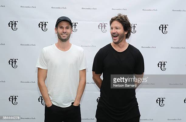 Brad Hargreaves and Stephan Jenkins of Third Eye Blind attend Abercrombie Fitch Summer Rooftop Party at Gallow Green Rooftop on July 28 2016 in New...