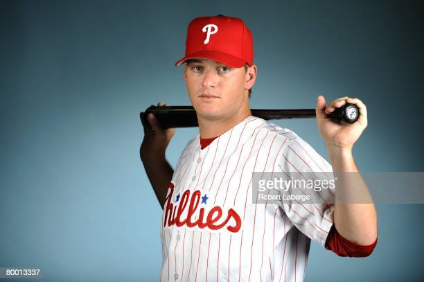 Brad Harman of the Philadelphia Phillies poses for a portrait during the spring training photo day on February 21, 2008 at Bright House Field in...
