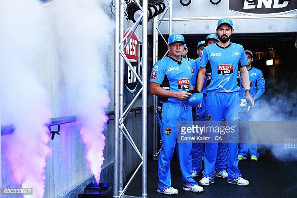 Brad Hodge and Kane Richardson of the Adelaide Strikers prepare to walk out onto the ground prior to the Big Bash League match between the Adelaide...
