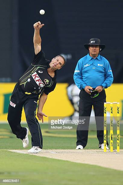 Brad Hodge of Australia bowls during game two of the International Twenty20 series between Australia and England at the Melbourne Cricket Ground on...