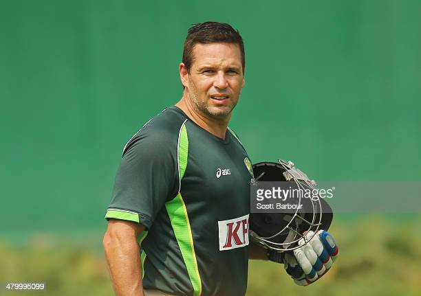 Brad Hodge of Australia looks on during a nets session ahead of the ICC World Twenty20 Bangladesh 2014 at ShereBangla Mirpur Stadium on March 22 2014...