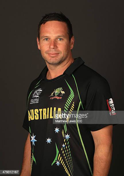 Brad Hodge of Australia poses for a portrait during a Headshot session at the Ruposhi Bangla Hotel ahead of the ICC World Twenty20 Bangladesh 2014 on...