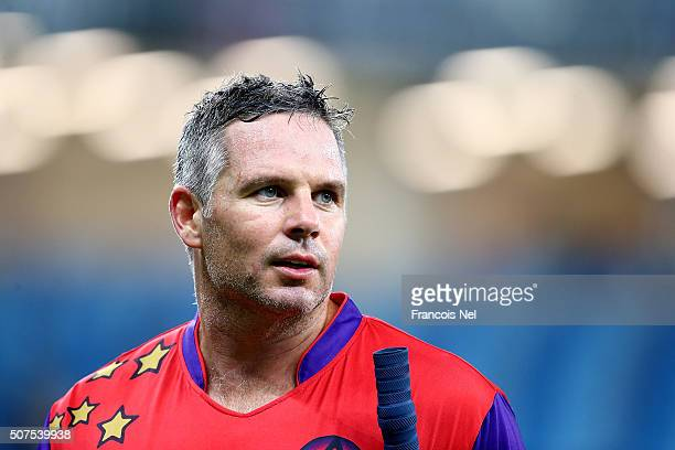 Brad Hodge of Gemini Arabians walks off the pitch following his team's victory during the Oxigen Masters Champions League match between Gemini...