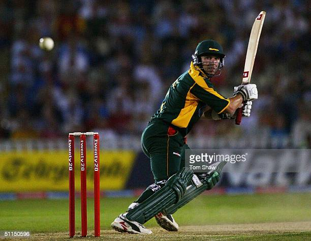 Brad Hodge of Leicestershire hits out during the Surrey v Leicestershire Twenty20 cup Final match at Edgbaston Cricket Ground on August 7 2004 in...