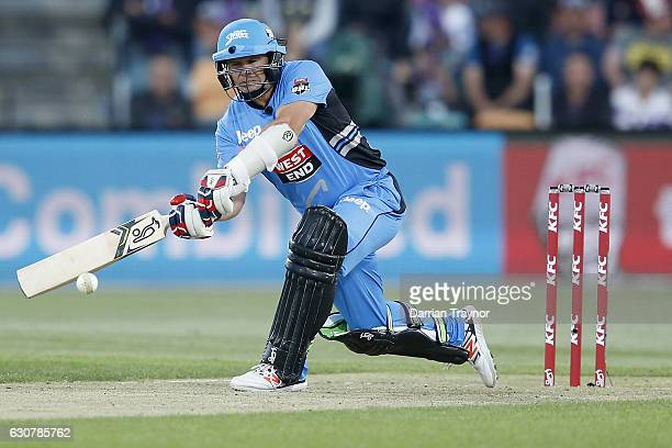 Brad Hodge of the Adelaide Stikers bats during the Big Bash League match between the Hobart Hurricanes and Adelaide Strikers at Blundstone Arena on...