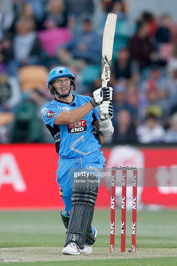 Brad Hodge of the Adelaide Stikers hits a ball for 6 during the Big Bash League match between the Hobart Hurricanes and Adelaide Strikers at Blundstone Arena on January 2, 2017 in Hobart, Australia.