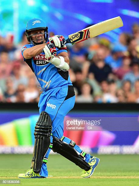 Brad Hodge of the Adelaide Strikers bats during the Big Bash League match between the Adelaide Strikers and the Melbourne Stars at Adelaide Oval on...