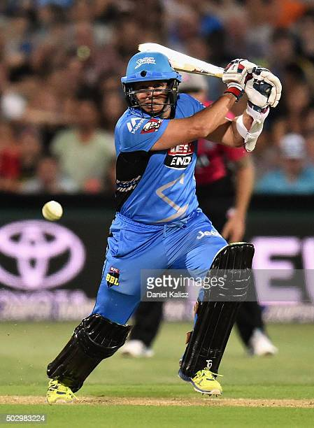 Brad Hodge of the Adelaide Strikers bats during the Big Bash League match between the Adelaide Strikers and the Sydney Sixers at Adelaide Oval on...
