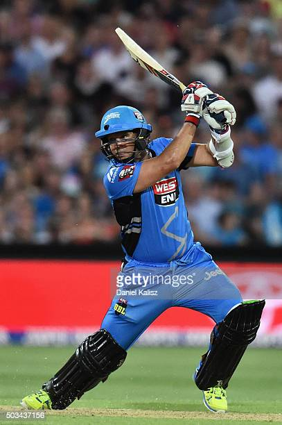 Brad Hodge of the Adelaide Strikers bats during the Big Bash League match between the Adelaide Strikers and Perth Scorchers at Adelaide Oval on...
