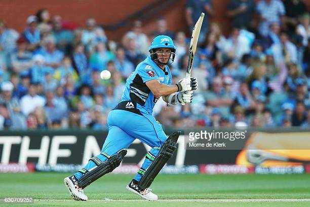 Brad Hodge of the Adelaide Strikers bats during the Big Bash League match between the Adelaide Strikers and Sydney Sixers at Adelaide Oval on...