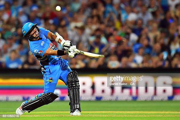 Brad Hodge of the Adelaide Strikers bats during the Big Bash League match between the Adelaide Strikers and the Hobart Hurricanes at Adelaide Oval on...