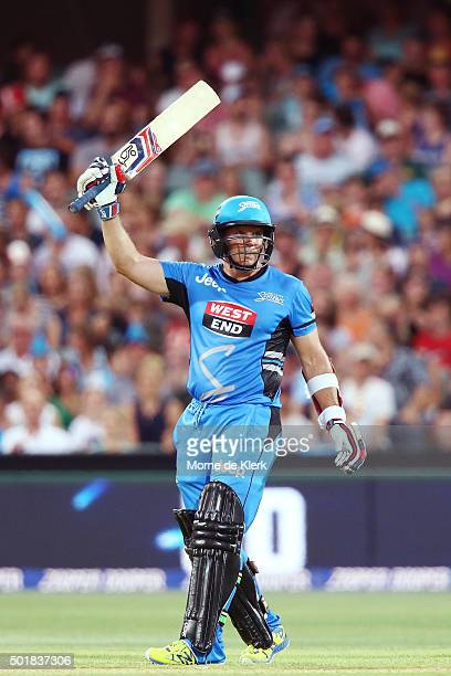 Brad Hodge of the Adelaide Strikers celebrates after reaching 50 runs during the Big Bash League match between the Adelaide Strikers and the...