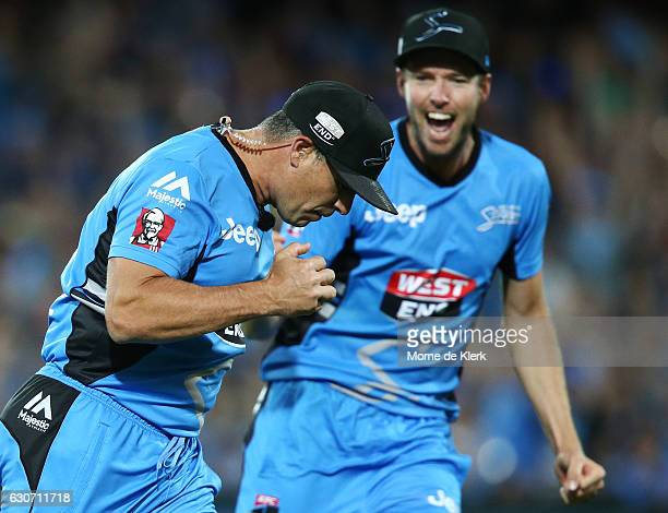 Brad Hodge of the Adelaide Strikers celebrates after taking a catch to dismiss Daniel Hughes of the Sydney Sixers during the Big Bash League match...