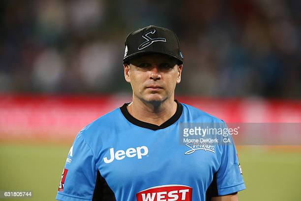 Brad Hodge of the Adelaide Strikers looks on after the Big Bash League match between the Adelaide Strikers and the Melbourne Renegades at Adelaide...