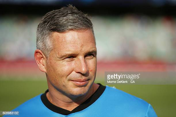 Brad Hodge of the Adelaide Strikers looks on before the Big Bash League Semi Final match between the Adelaide Strikers and the Sydney Thunder at...
