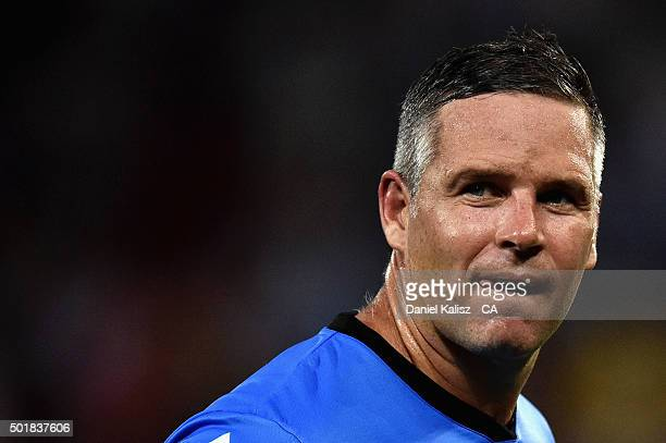 Brad Hodge of the Adelaide Strikers looks on during the Big Bash League match between the Adelaide Strikers and the Melbourne Stars at Adelaide Oval...