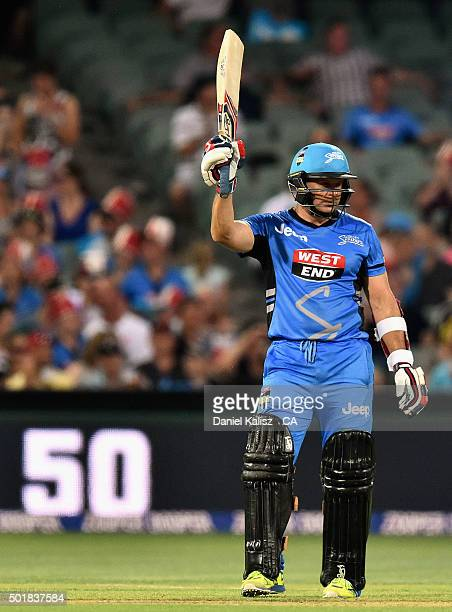 Brad Hodge of the Adelaide Strikers reacts after scoring his half century during the Big Bash League match between the Adelaide Strikers and the...